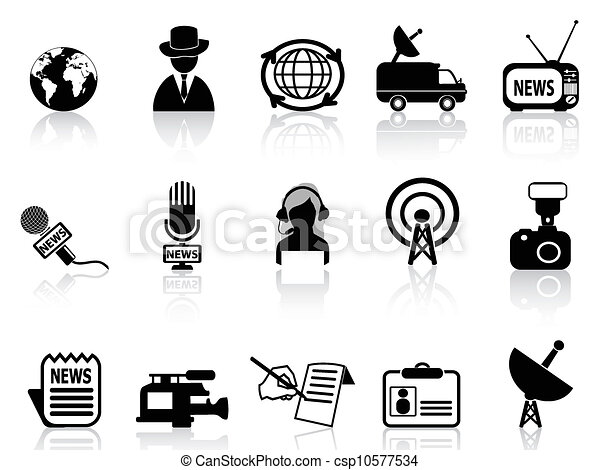 Vectors Of News Reporter Icons Set Isolated News