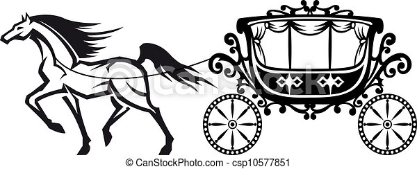 Horse And Carriage Logo Horse With Vintage Carriage