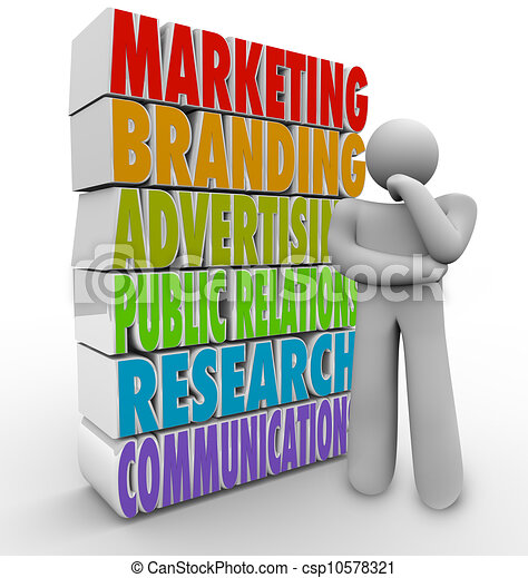 Marketing Plan Thinking Strategy Advertising Communications - csp10578321