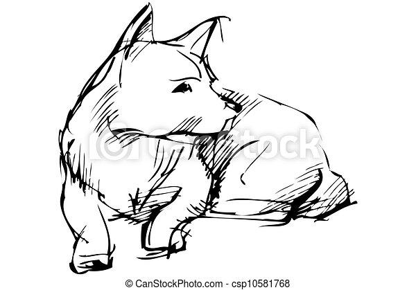 Clip art vecteur de mensonges croquis chien animal - Croquis poisson ...