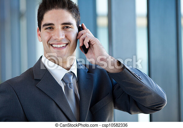 business man talking on cell phone - csp10582336