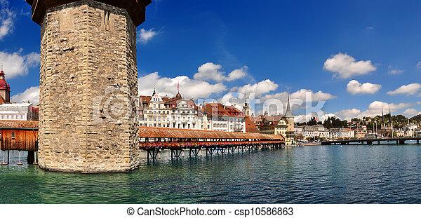 Chapel Bridge and Water Tower. Luzern, Switzerland - csp10586863