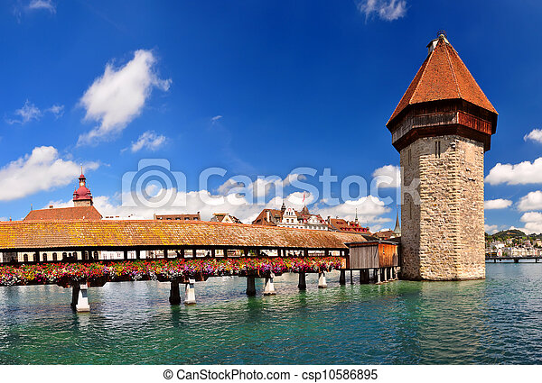 Chapel Bridge and Water Tower, Luzern, Switzerland - csp10586895