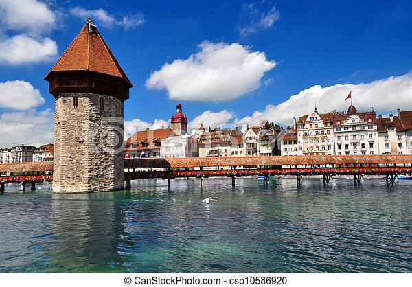 Chapel Bridge and Water Tower, Luzern, Switzerland - csp10586920