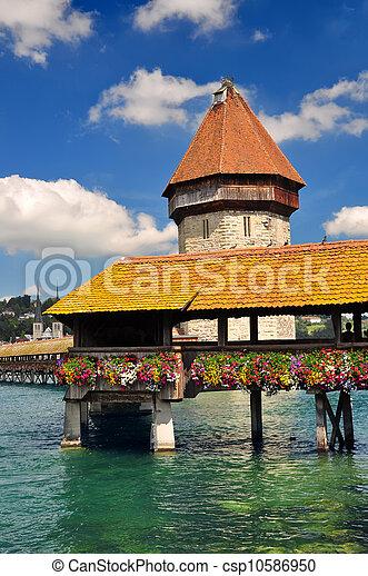 Chapel Bridge and Water Tower, Luzern, Switzerland - csp10586950