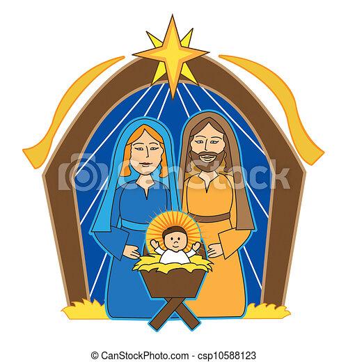 nativity scene, mary, joseph and baby jesus.