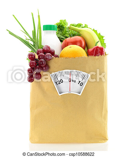 Healthy diet. Fresh food in a paper bag - csp10588622