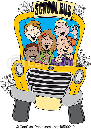 Cartoon image of a school bus taking a group of kids back to school