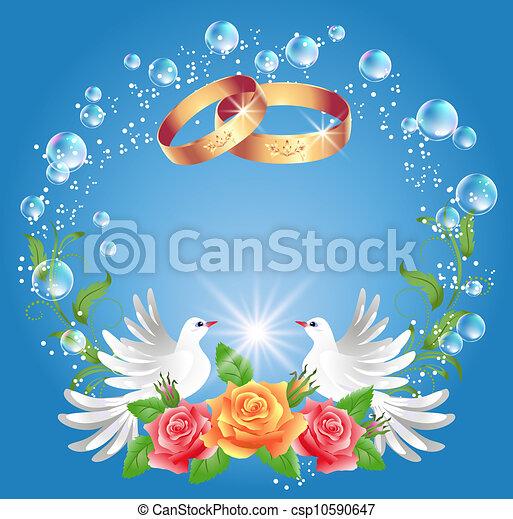 EPS vector de boda, anillos, dos, Palomas - tarjeta, boda, anillos ...