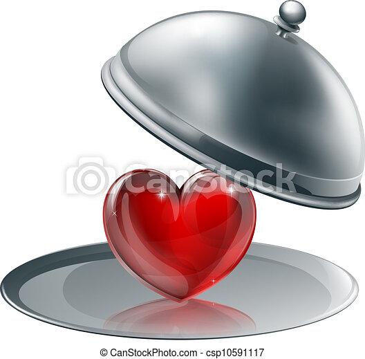 Heart on a silver platter  - csp10591117