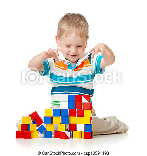 kid playing toy blocks  isolated on white background - csp10591193