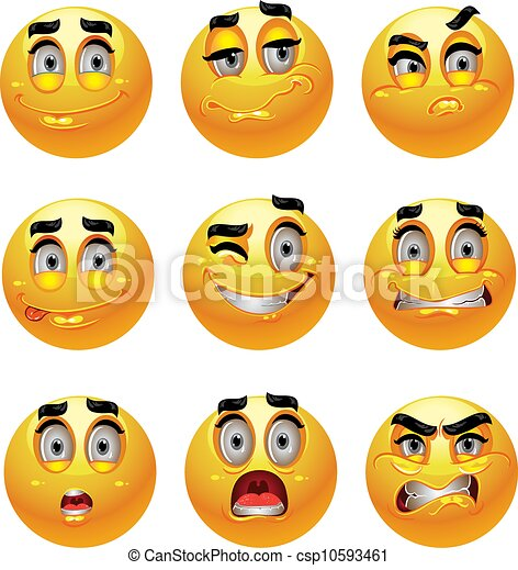 Clip Art Vector of 9 emotion smiles csp10593461 - Search Clipart ...