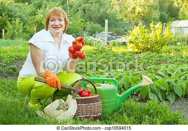 Happy mature woman with vegetables - csp10594015