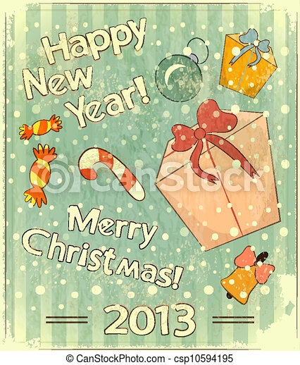 Christmas retro postcard with toys and gift Box - csp10594195