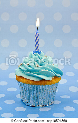 baby blue first birthday cupcake - csp10594860