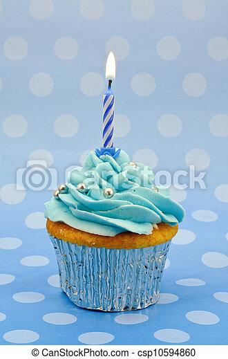 baby blue first birthday cupcake - csp10594860