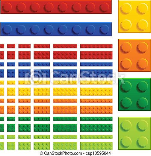 vector children plastic bricks toy - csp10595044