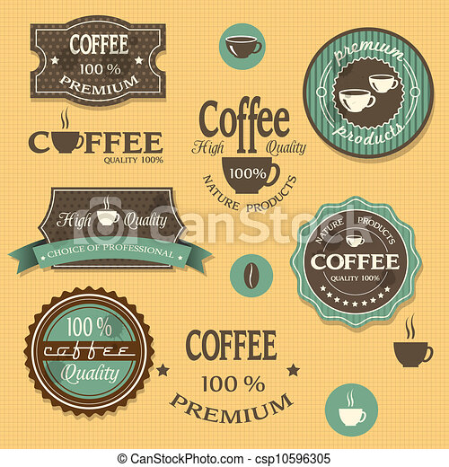 vector clipart of coffee labels for design vintage style
