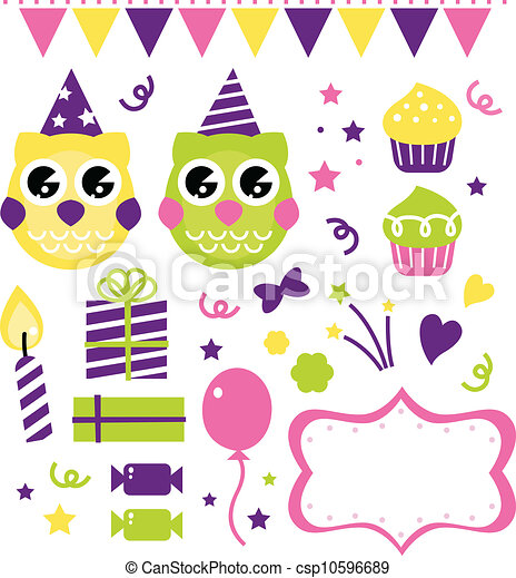 Owl birthday party design elements isolated on white - csp10596689