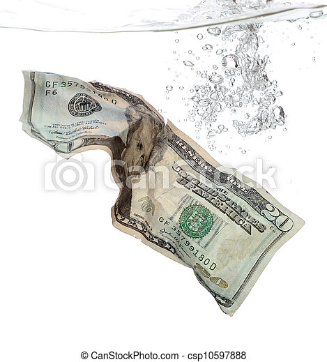 20 Dollar banknote in water - csp10597888