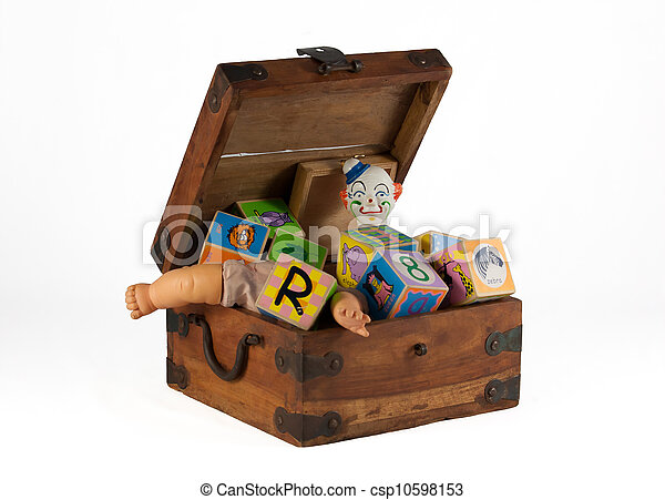 Stock Images of Vintage toy box with blocks - An old wooden toy box ...