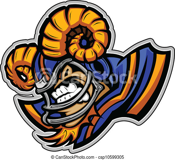Graphic Vector Sports lmage of a Snarling American Football Ram Mascot with Horns on Football Helmet - csp10599305