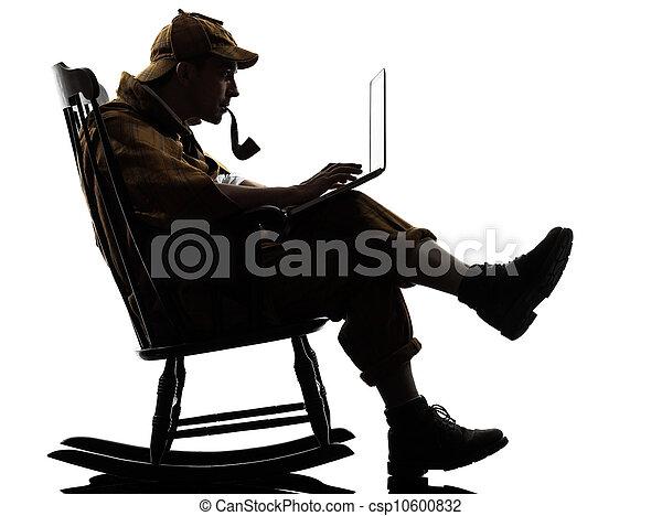 sherlock holmes silhouette computing - csp10600832
