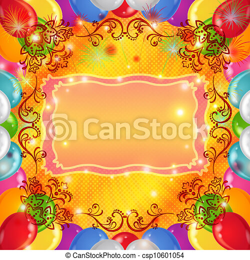 Holiday background with balloons - csp10601054
