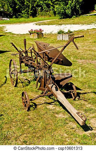 antique agriculture machine plough - csp10601313