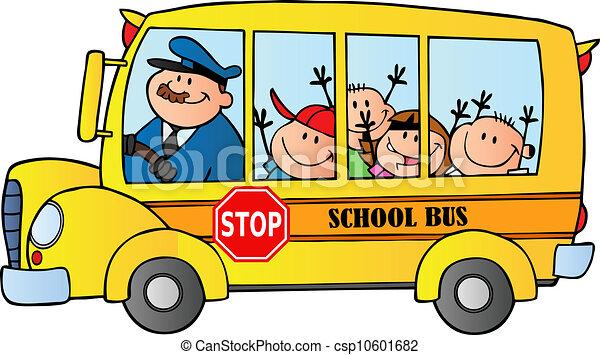 School Bus Drawing School Bus With Happy Children