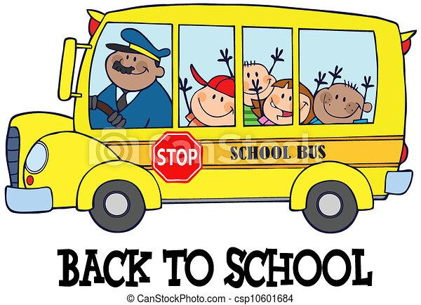 School Bus Drawings Children on School Bus And