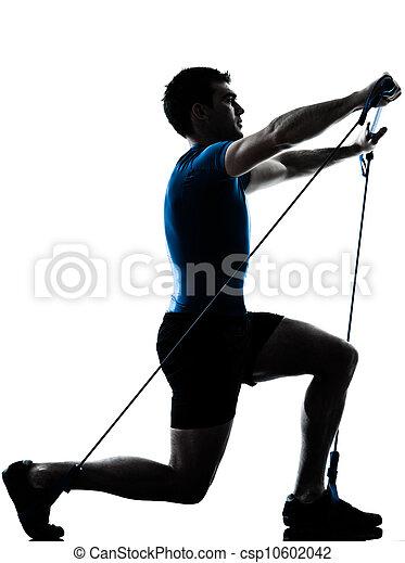 man exercising gymstick workout fitness posture - csp10602042