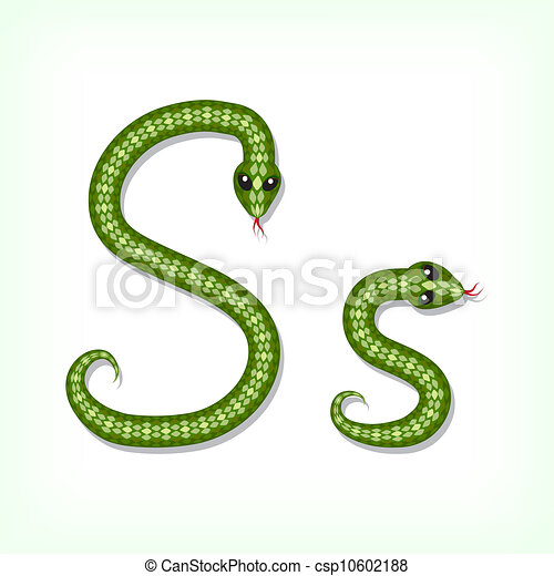 Vector Of Snake Font Letter S Font Made From Green