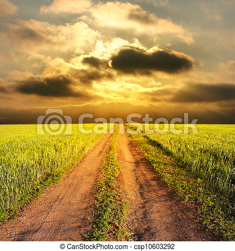 evening rural landscape with a road - csp10603292