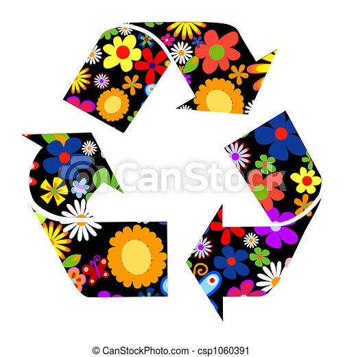 Recycle signs with flowers - csp1060391