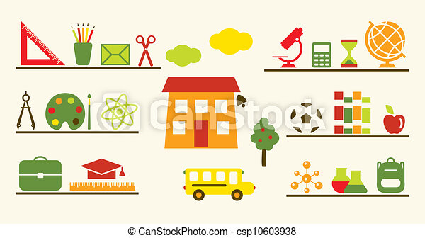 Multicolored school objects set. - csp10603938