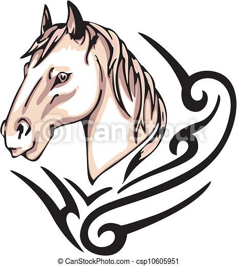Vecteur clipart de cheval tatouage tatouage cheval t te couleur csp10605951 - Tete de cheval dessin ...