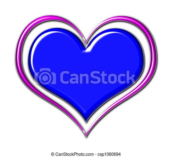 Coração, em, azul, e, roxo - csp1060694