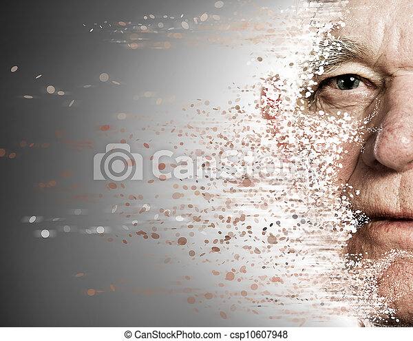 Elderly man's face falling apart. Aging concept - csp10607948