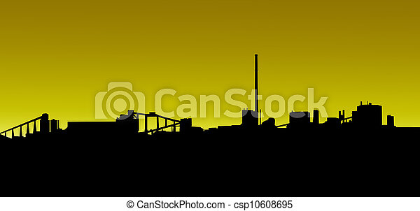 Mining Industry Golden Sunrise Sunset Silhouette - csp10608695