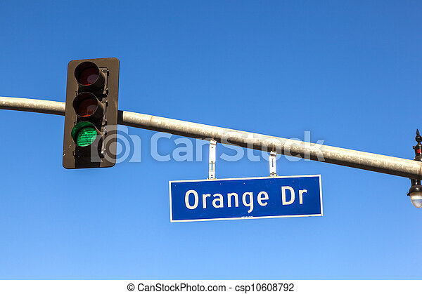 famous street sign orange drive with green traffic light in Hollywood - csp10608792
