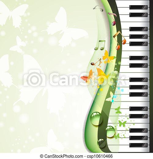 鑰匙, 鋼琴, 蝴蝶 - csp10610466