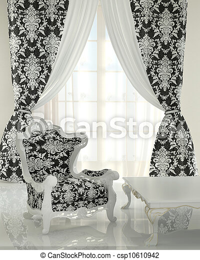 sch ma r gulation plancher chauffant rideau baroque noir et blanc. Black Bedroom Furniture Sets. Home Design Ideas