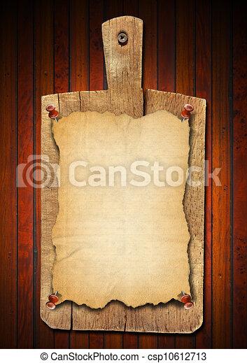 viejo, cuaderno, corte, tabla, en, madera, Plano de fondo - csp10612713