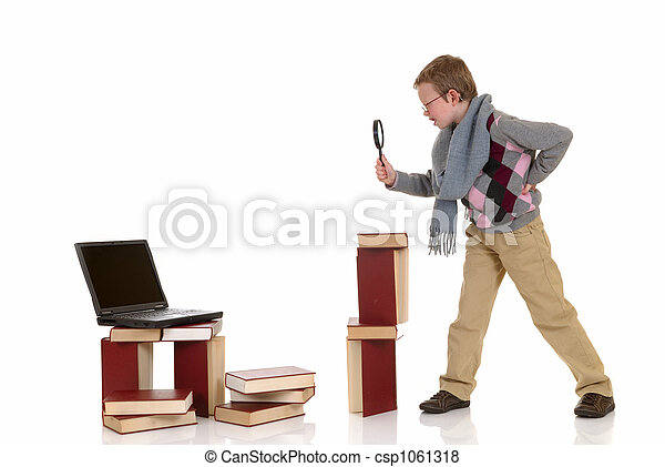 Eight year young boy studying - csp1061318