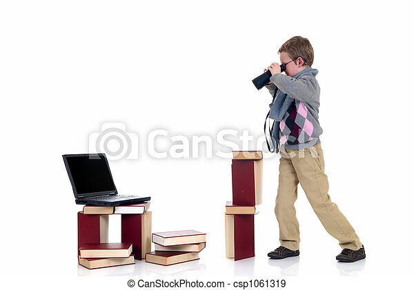 Eight year young boy studying - csp1061319