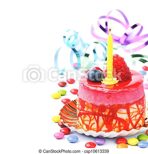 蛋糕, 生日, 鮮艷 - csp10613339