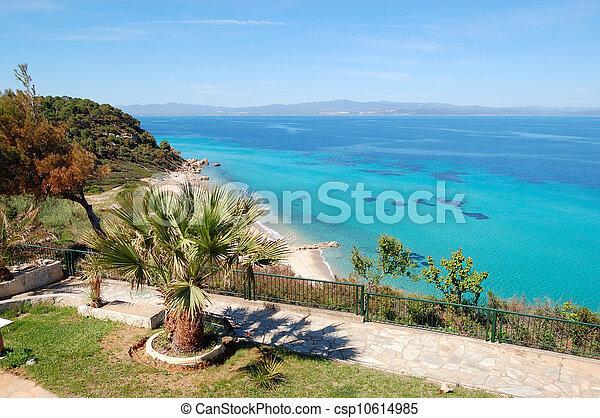 The sea view recreation area of luxury hotel, Halkidiki, Greece