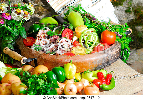 still life from vegetables and meat on the earthen dish - csp10617112