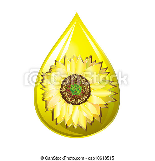 Vector Clip Art of Sunflower seed oil drop isolated on a ...